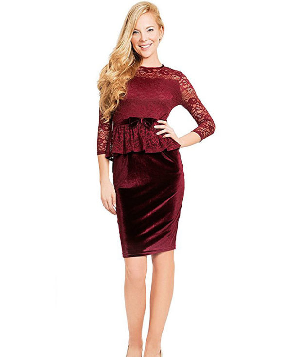 Sleeve Lace Velvet Formal Business Party Dress Office Lady Dress ...