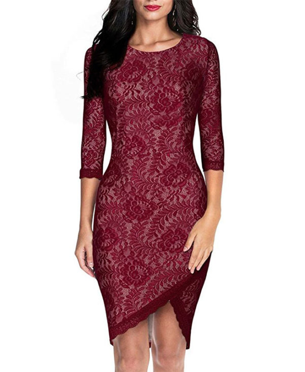Women\'s Elegant Floral Lace Party Dress 2/3 Sleeve Bodycon Evening ...