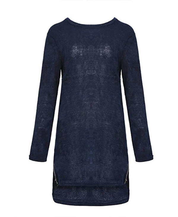 Womens Long Sleeve Side Zipper Loose Casual Tunic Knit Pullover ...
