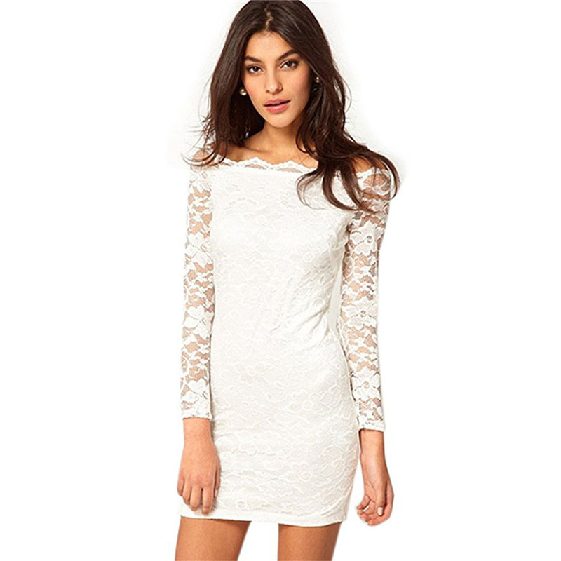 Women\'s Off Shoulder Lace Dress Long Sleeve Bodycon Party Cocktail ...