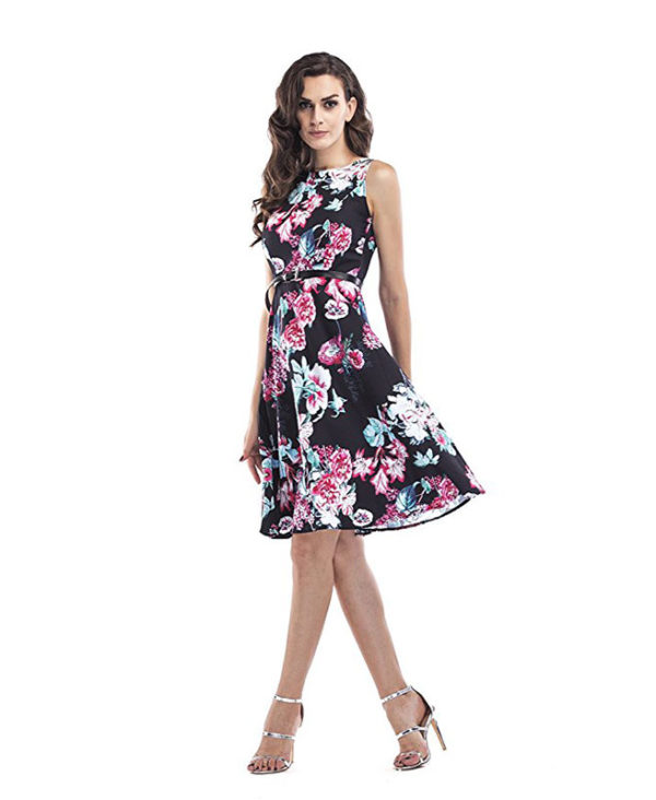 Vintage 1950\'s Sleeveless A-line Dress Floral Spring Garden Party ...